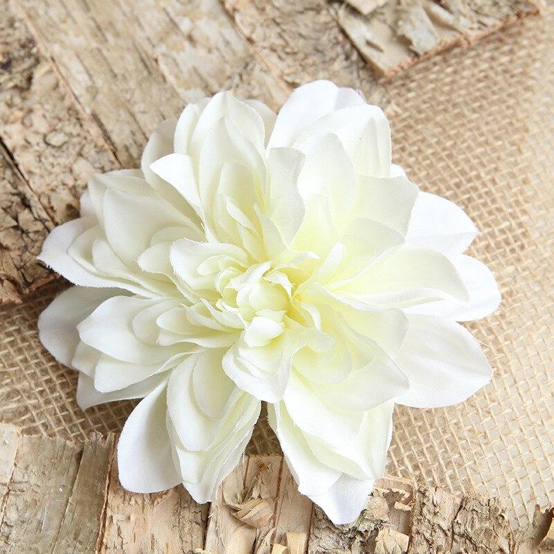 20 piezas 14 cm cabeza de flor Artificial Dalia Flor de seda cabezas flores falsas marfil/rosa/rojo Artificial Dalia boda decoración