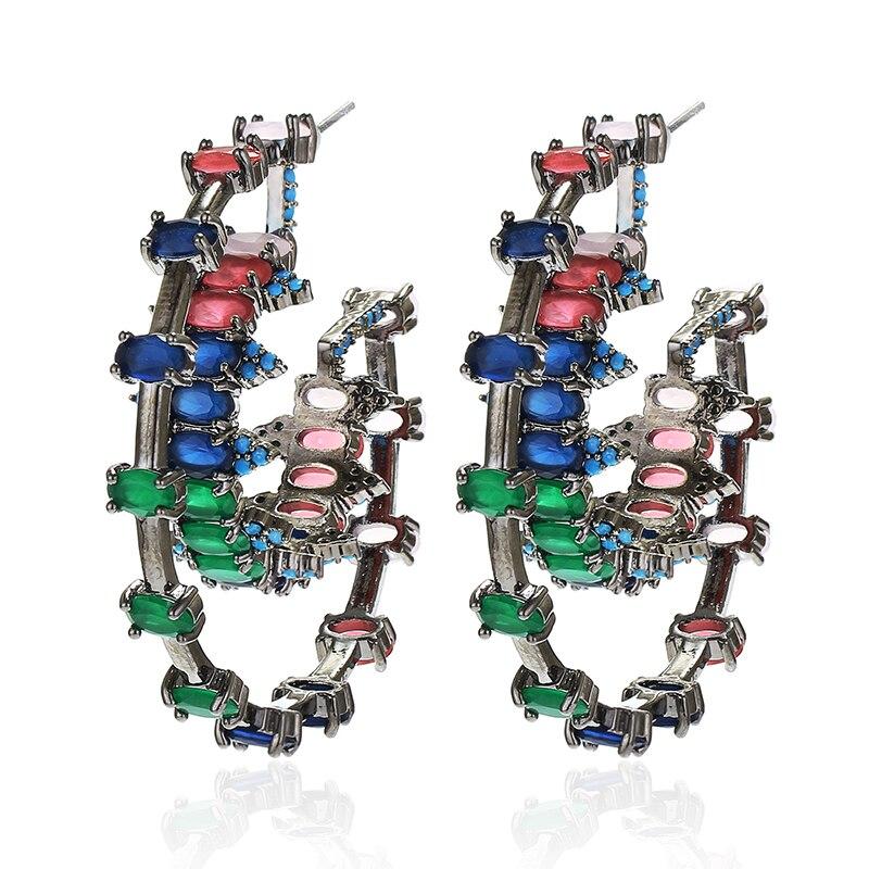 Pendientes redondos de aro de circón de estructura, joyería de lujo para mujer, chapado en rodio, XIUMEIYIZU, pendientes de exportación de alta calidad