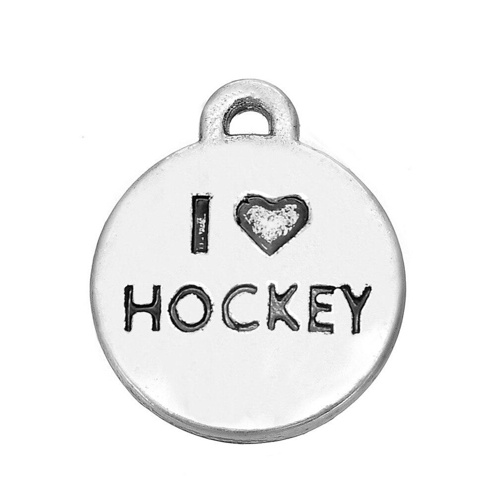 Skyrim Vintage Charms Jewelry Making I Love Hockey&Hockey Sports&Hockey Player Floating Charm DIY Pendant Jewelry Gift 20Pcs