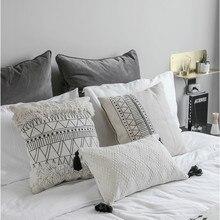 DUNXDECO-housse de coussin moderne   Motif nordique, motif de glands avec lignes blanches noires, canapé de bureau et maison