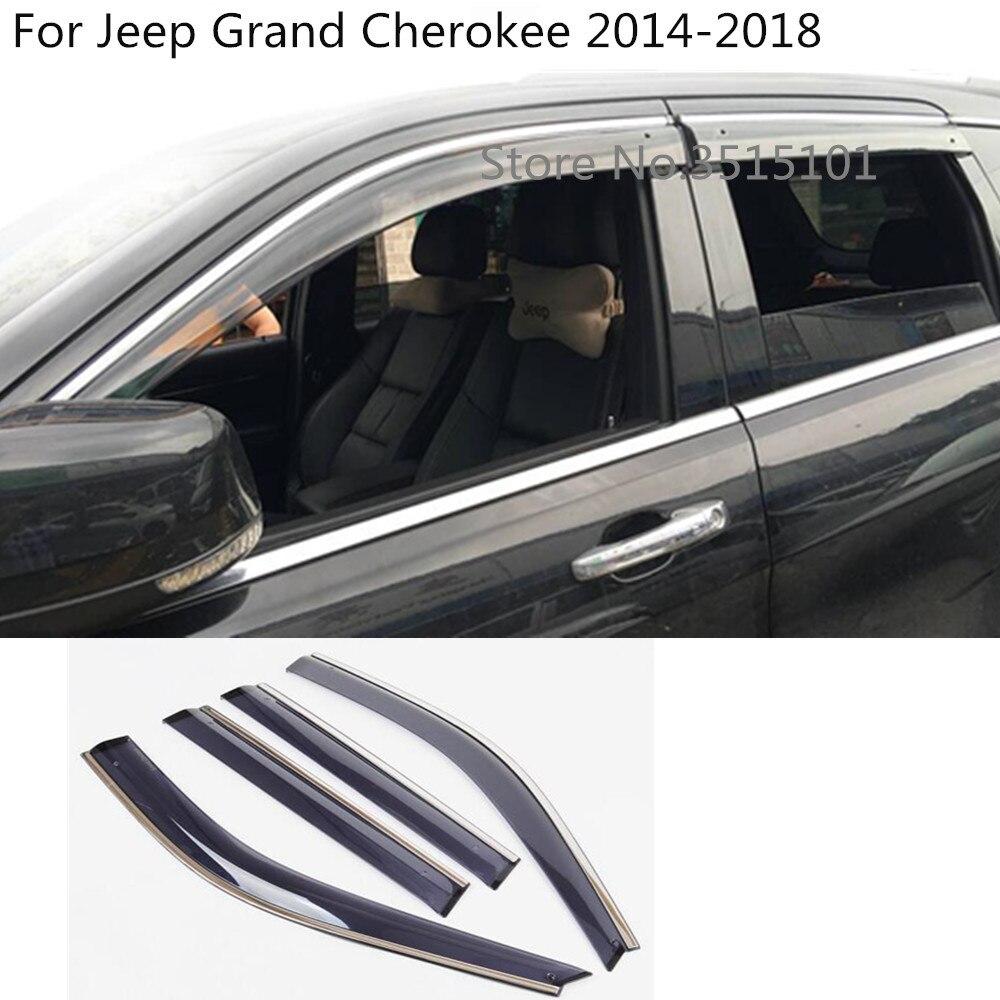 car cover plastic Window glass Wind Visor Rain/Sun Guard Vent frame lamp 4pcs For Jeep Grand Cherokee 2014 2015 2016 2017 2018