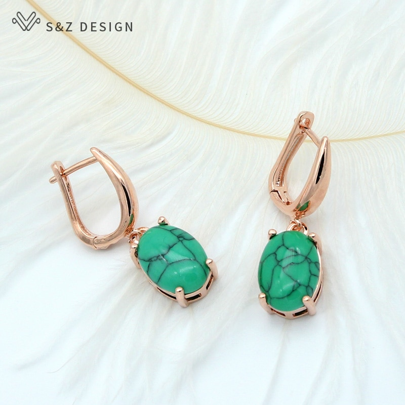 S&Z New Classic Oval Egg Shape Synthetic Turquoises Dangle Earrings Vintage 585 Rose Gold For Women Girl's Trendy Party Jewelry