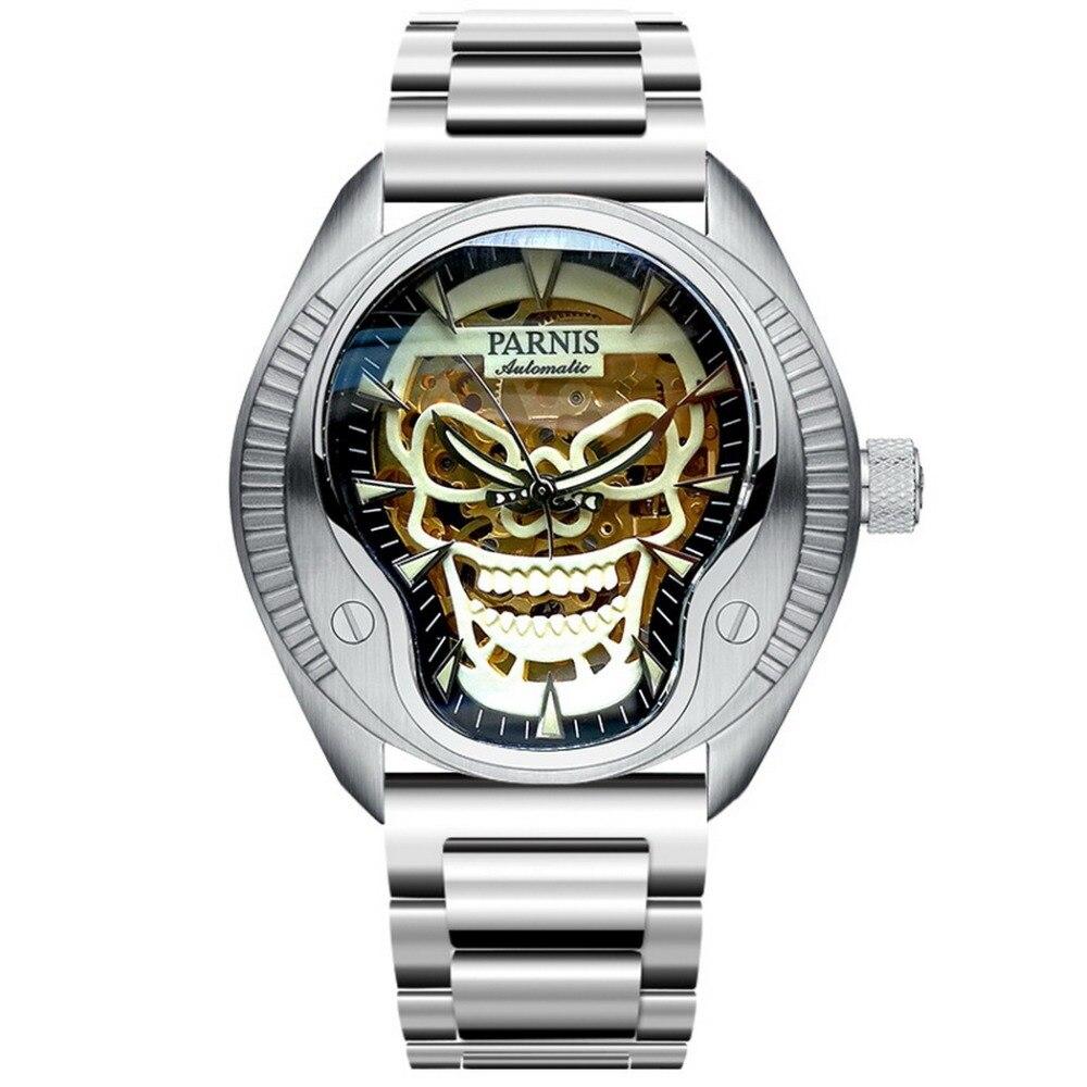 Parnis pirata Seriers hombres deporte Punk Styel banda de acero luminoso cráneo hueco Dial automático mecánico relojes de pulsera