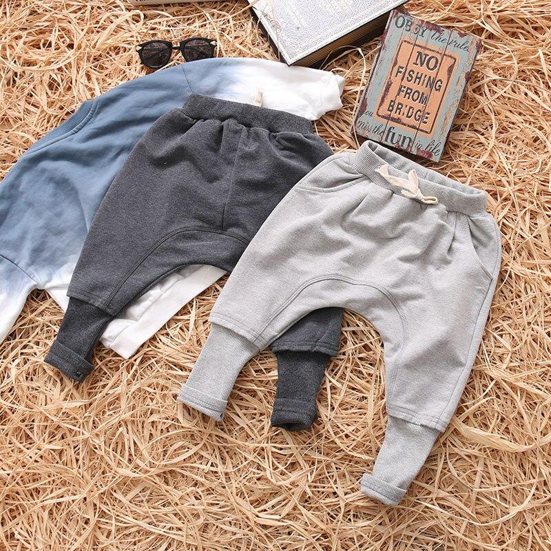 Детская осенне-весенняя одежда штаны для девочек детские штаны для маленьких мальчиков, шаровары однотонные, черные, серые