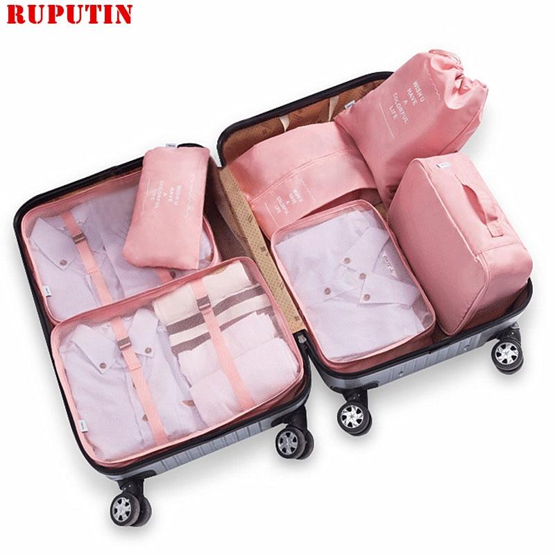RUPUTIN 7Pcs/set Travel Luggage Organizer Clothes Storage Bag High Quality Waterproof Cosmetic Toiletrie Accessories