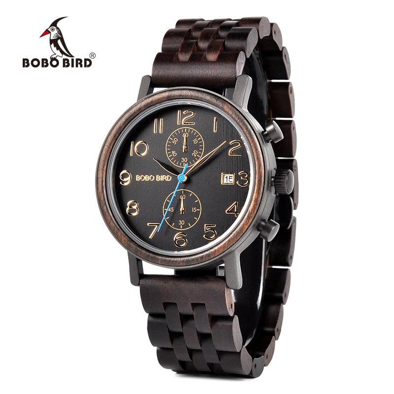 Erkek كول الساعاتي بوبو الطيور خشبية الساعات رجل الأعمال ساعة اليد تاريخ تظهر التحفة الفنية هدايا كبيرة ل الأب هدية L-S08