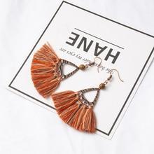 Classic Bohemian Triangle Tassel Drop Earrings for Women Ethnic Boho Wooden Beads Colorful Fringed Earring 2019 Fashion Jewelry