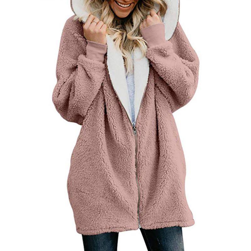Chaqueta abrigo de invierno Cárdigan para mujer abrigo de piel de imitación de lana Abrigo con capucha abrigo para mujer talla grande 4XL