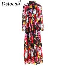 Delocah créateur de mode été 5XL grande taille robes femmes lanterne manches imprimé Floral taille élastique Vintage robes longues