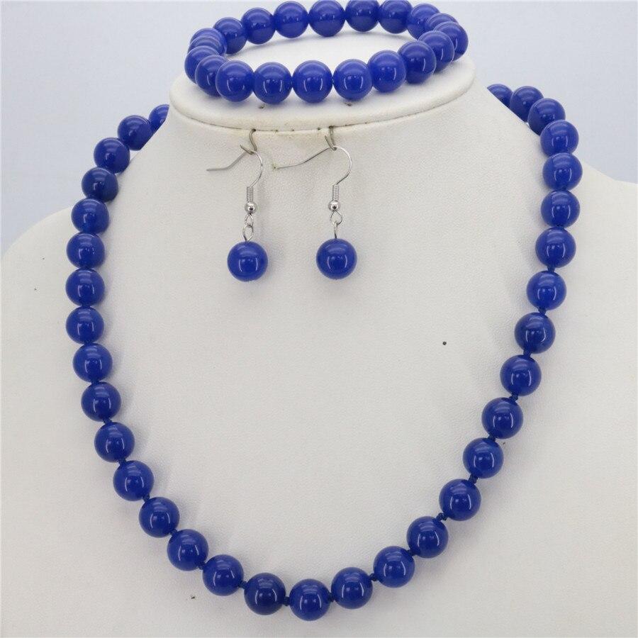 Новые Красивые популярные женские модные 10 мм синие Бусины их халцедона, камень, набор ожерелье + браслет + серьги, комплекты ювелирных издел...