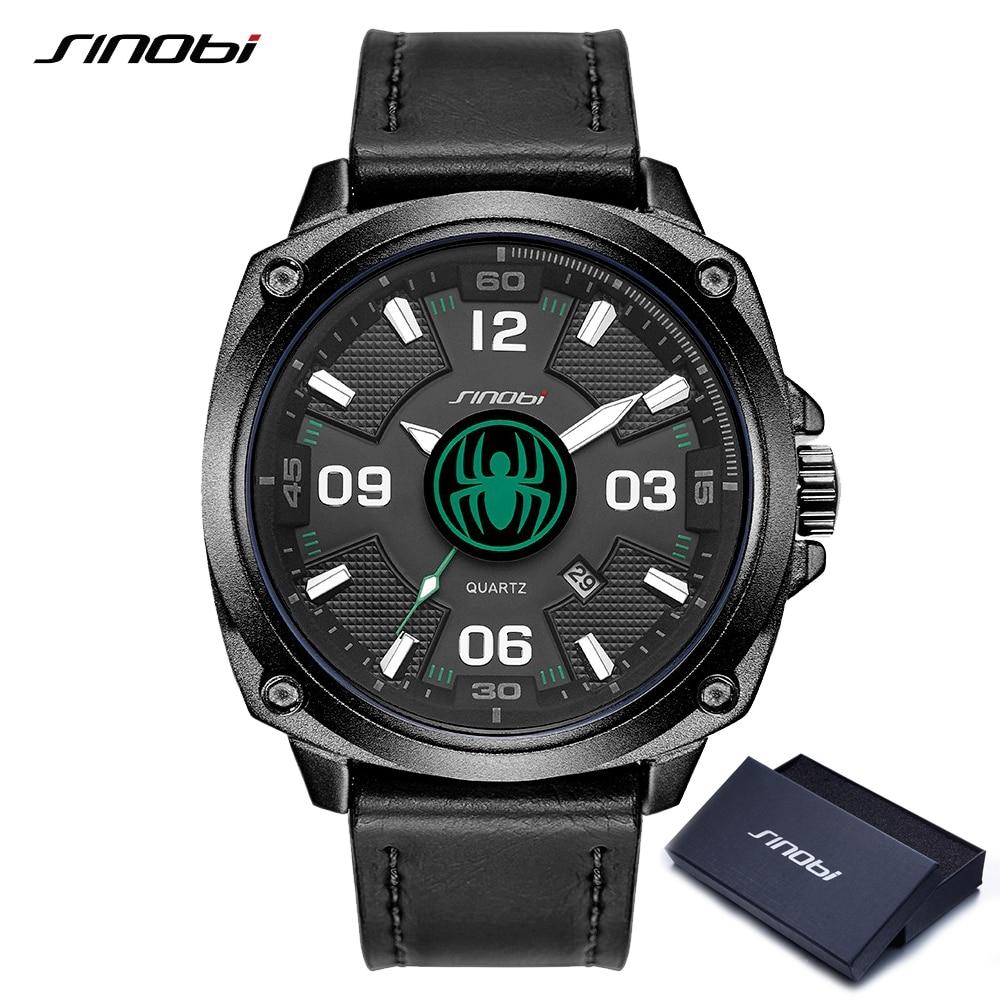 SINOBI Watches Brand Luxury Men Watches Black Leather Analog Quartz Watch for Male Waterproof Clock Man Military Wristwatches