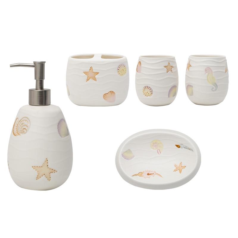 A1 European creative ocean mouth cup five-piece bathroom set ceramic toothbrush holder bathroom wash set LO728427