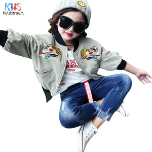 Kindstraum 2018 Spring Girls Embroidery Jackets Brand Children Casual V-Neck Clothes Pockets Outwear for Kids,RC1727