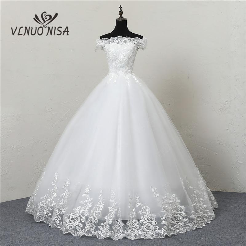 Robe De Mariee Grande Taille New Wedding Dress Lace Boat Neck Off The Shoulder Ball Gown Princess Plus Size Vintage Brides 20