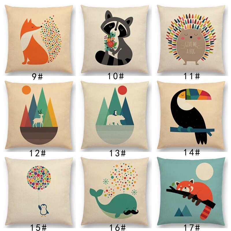 Lo último en funda de cojín de gato con dibujos de animales, unicornio, Tigre, León, erizo, mapache, elefante, zorro, tucán