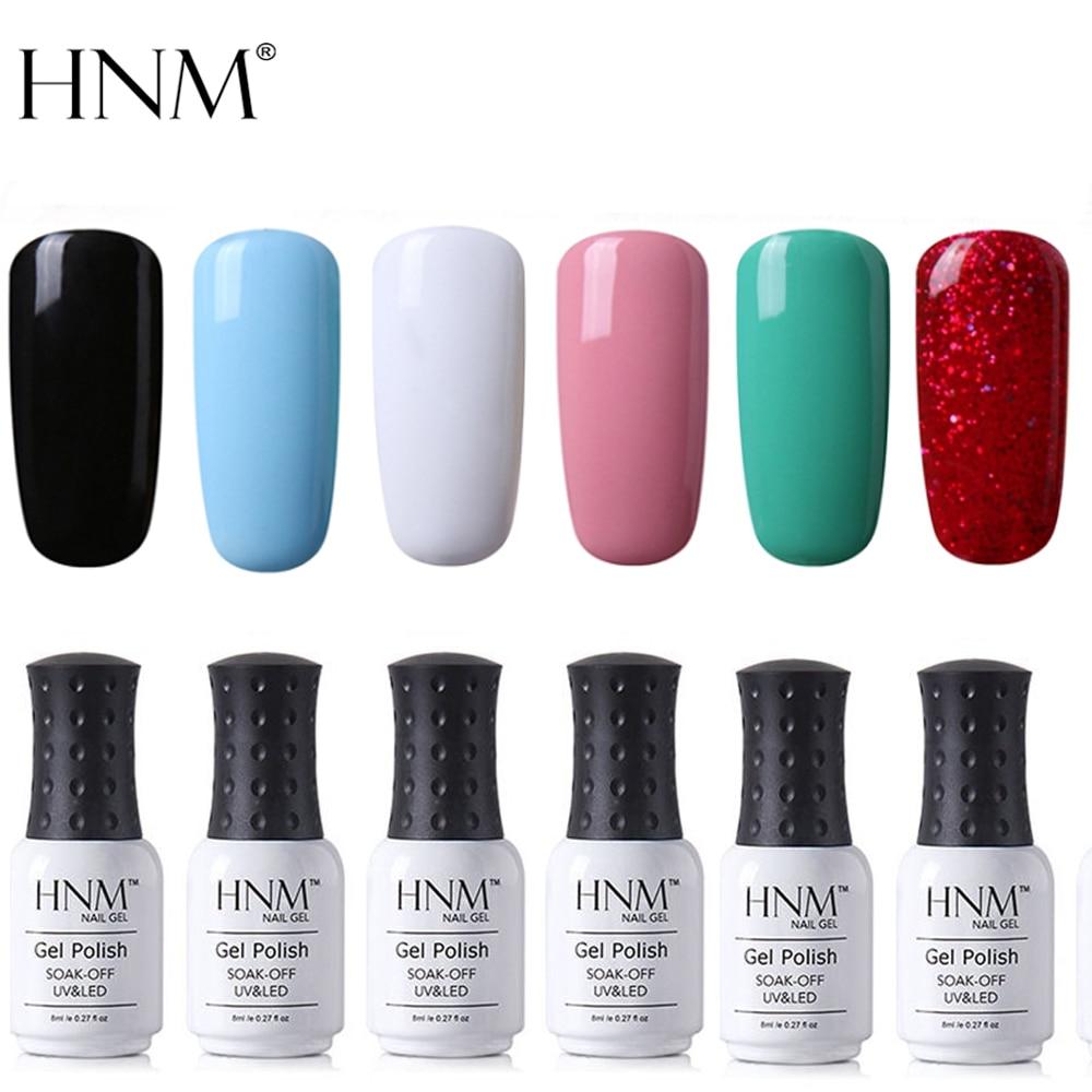 HNM 6 шт./компл. 8 мл чистый цвет УФ-гель для ногтей своими руками Нейл-арт отмачиваемый полуперманентный Гель-лак комплект лаков