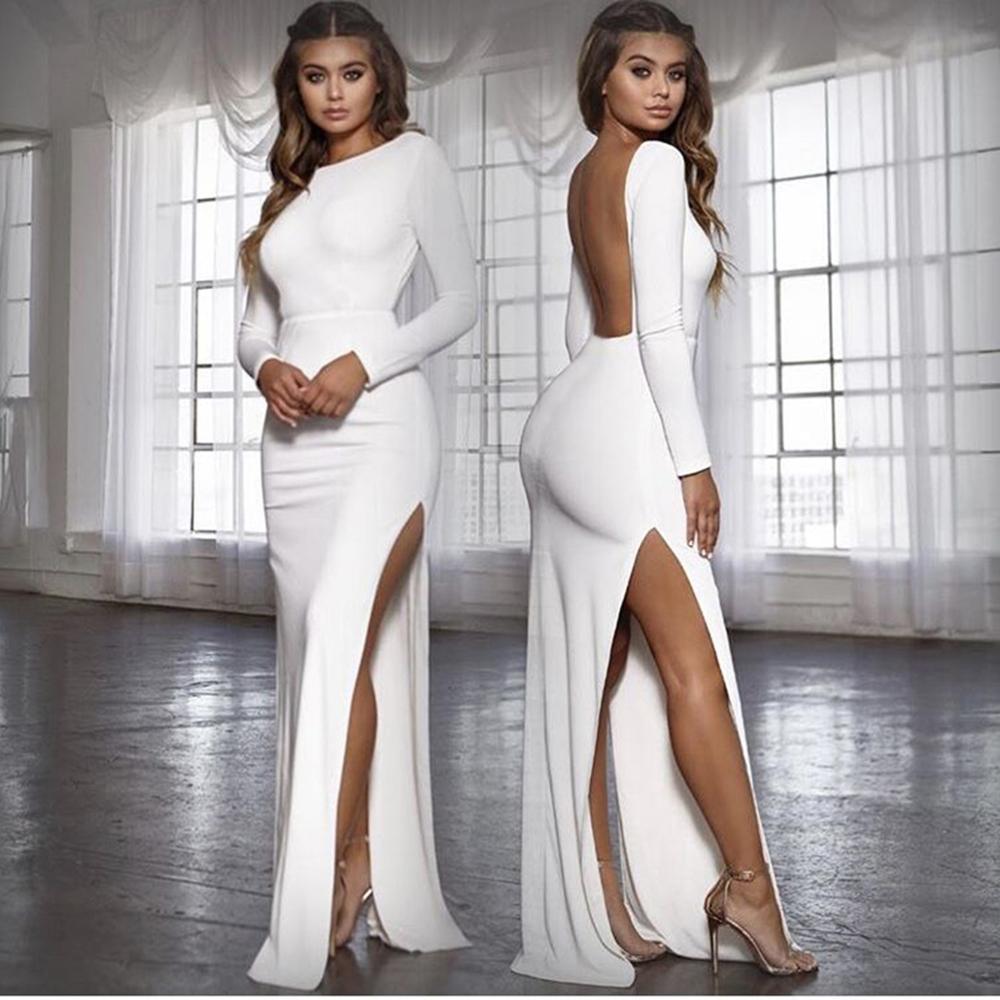 AliExpress - Jessingshow Sexy Women Long Maxi Dress Bodycon Solid Color Side Split Backless Long Sleeve Sheath Dresses Vestidos