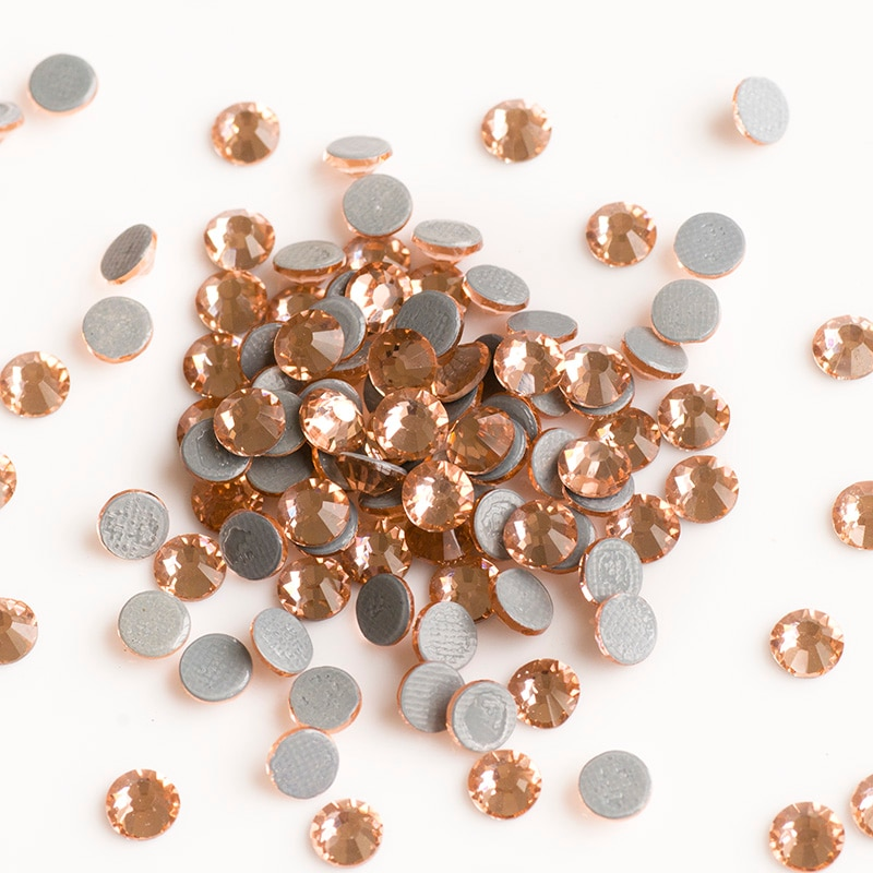 Yanruo 2058hf SS6-SS30 luz pêssego quente-fix pedras de vidro cristal vestido strass ferro no strass para roupas
