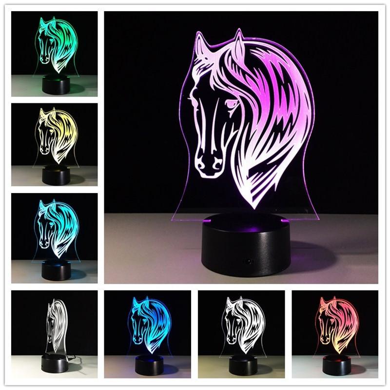 Usb Led 3D Ночник светильник с аккумулятором ed Horse лампа Power Bank Led Usb 3d светодиодный Ночник светильник Power bank лампы