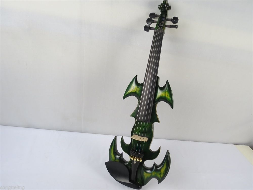 BEST model Green color streamline 5 strings 4/4 electric violin,solid wood enlarge