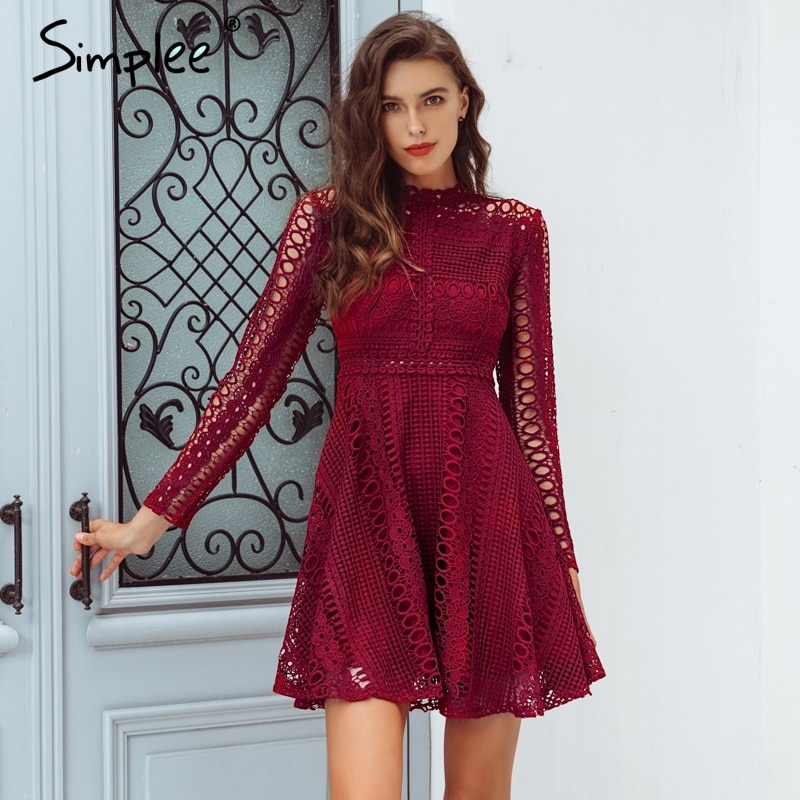 Simplee encaje rojo sexy Vestido corto mujer elegante manga larga bordado señoras vestido de fiesta de primavera traje de fiesta Mujer