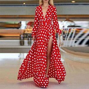 autumn and winter dress  V-NECK dress printed maxi dress elegant lady dress casual female dress Plus-sized dress