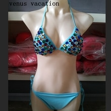 Venus vacances 2018 ensemble de bikini en diamant colorisé sexy femmes maillot de bain chaud pierres de maillot de bain bandeau fournisseur bikini