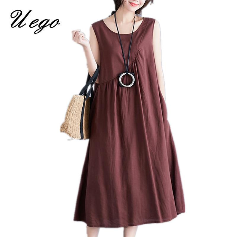 Vestido de verano suelto sin mangas de Uego, vestido informal de playa de lino y algodón suave, Vestido largo de fiesta para mujer elegante de pradera de retales