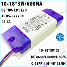 3 pièces Par TUV-CE Boîte 40 W AC85-277V LED Conducteur 10-18x3W 600mA DC30-60V LED à courant constant de Puissance Pour LED Projecteur Livraison Gratuite