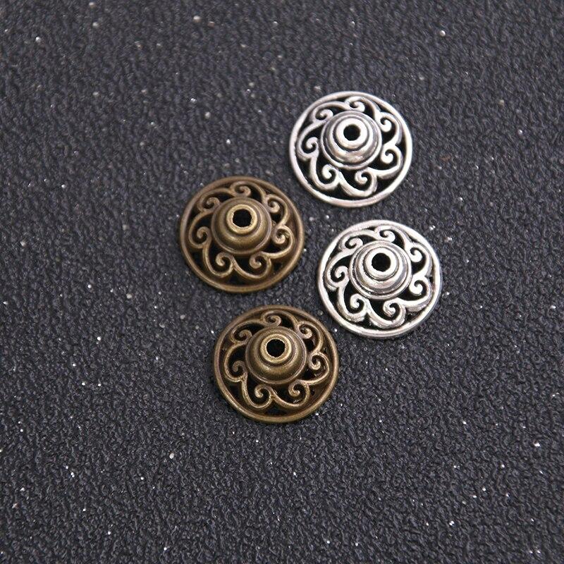 18 Uds 15*15mm dos colores de aleación Metal plateado hallazgos cuentas espaciadoras Hollow out cono patrón Metal DIY soporte inferior