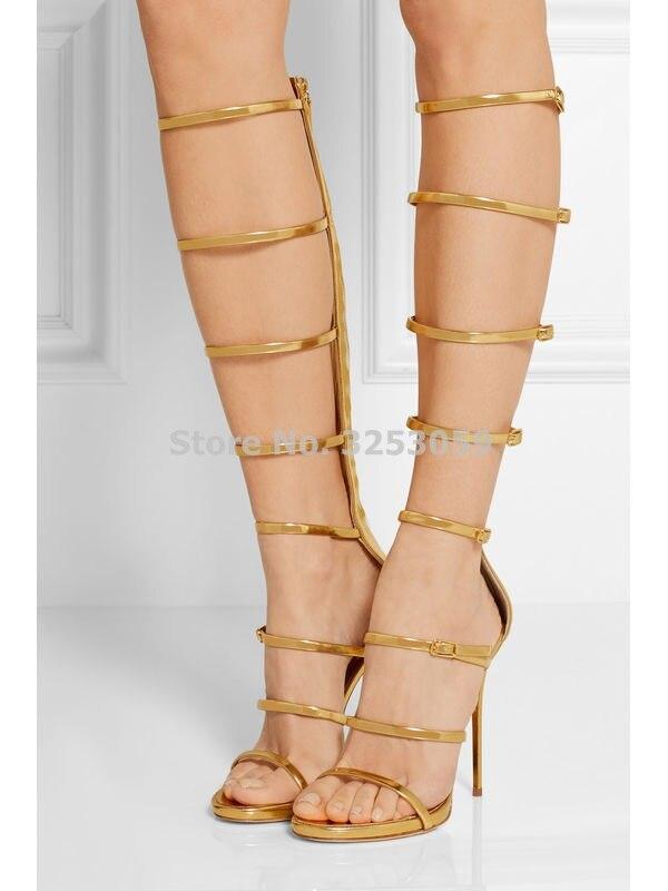ALMUDENA, sandalias sexis de gladiador con hebilla dorada y plateada, tacones de aguja, jaula de tiras metálicas, sandalias, botas, tacones dorados