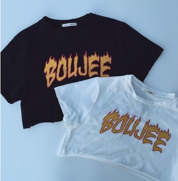 PUDO-XSX1pcs verano casual negro impreso Tee Boujee llama letra impresión Unisex calle estilo fresco camisetas Hipsters blanco o negro