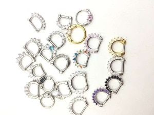Lot 30pcs 14g/16g Mix  Hot Clicker Small Hoop Septum Jewerly CZ Nose Ring body piercing jewelry Mix Styles