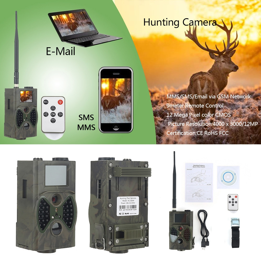 16MP Night Vision Hunting Trail Camera 2G MMS SMS SMTP HC300M Celluar Waterproof  Wildcamera Wireless Photo Trap Surveillance