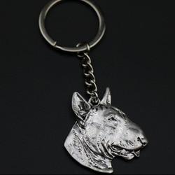 Bull terrier chaveiro jóias popular cão em relevo chaveiro nova moda cores