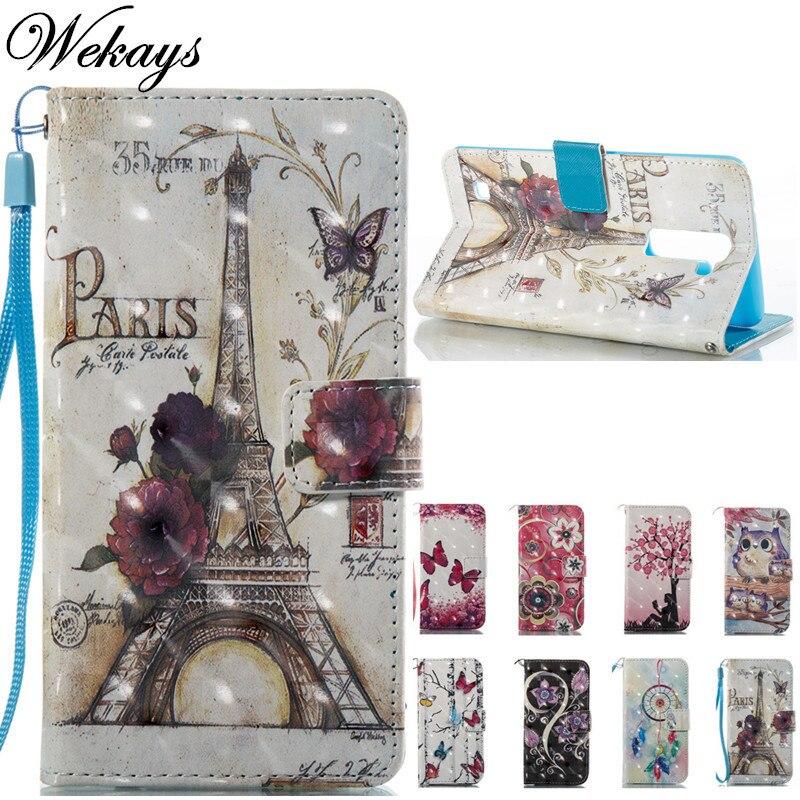 Wekays Cute Cartoon Paris Tower Leather Fundas Case For LG Stylus 2 Plus K530 K535 F720 LS775 G Stylo 2 K520 Stylus2 Cover Cases
