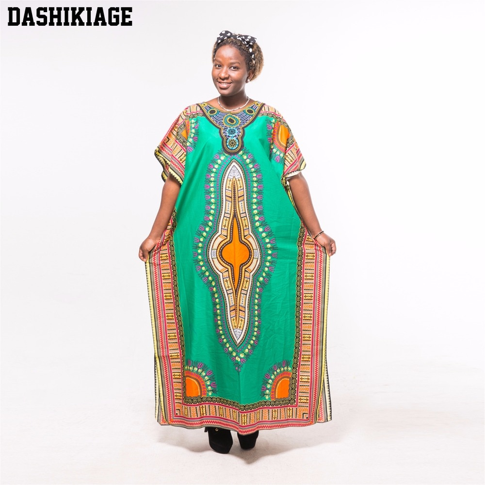 Dashikiage otoño Africana tribu Dashiki Apliques de tela verde suelto largo Maxi vestido
