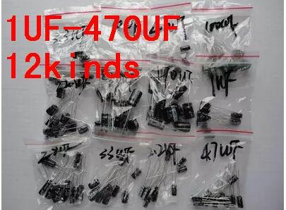 120 stücke 1set von 120 stücke 12 werte 0,22 UF-470UF aluminium-elektrolyt-kondensator sortiment kit set pack Freies verschiffen