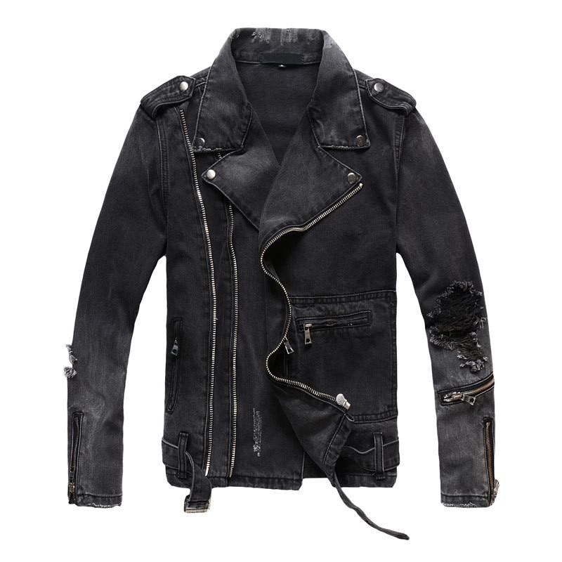 Nueva moda MORUANCLE, Chaquetas vaqueras rasgadas Hi Street para hombre con múltiples cremalleras, chaqueta vaquera desgastada para motociclista