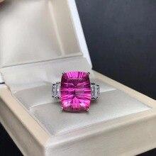 8 carat natural powder topaz ring, large gemstone color, exquisite craftsmanship, 925 silver inlay