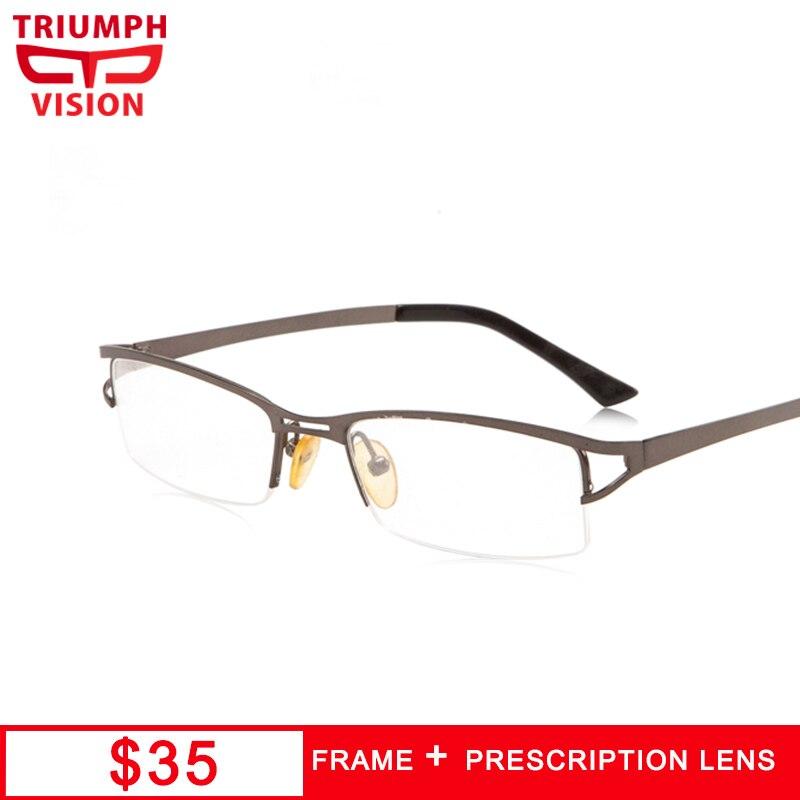 TRIUMPH VISION Cool Brushed Metal Myopia Glasses for men Semi Rimless Prescription Mens Eyewear Poro