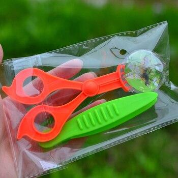 Pince à ciseaux en plastique pour enfants, Kit de jouets d'exploration de la Nature, outil d'étude des insectes végétaux, pince à ciseaux à tête ronde