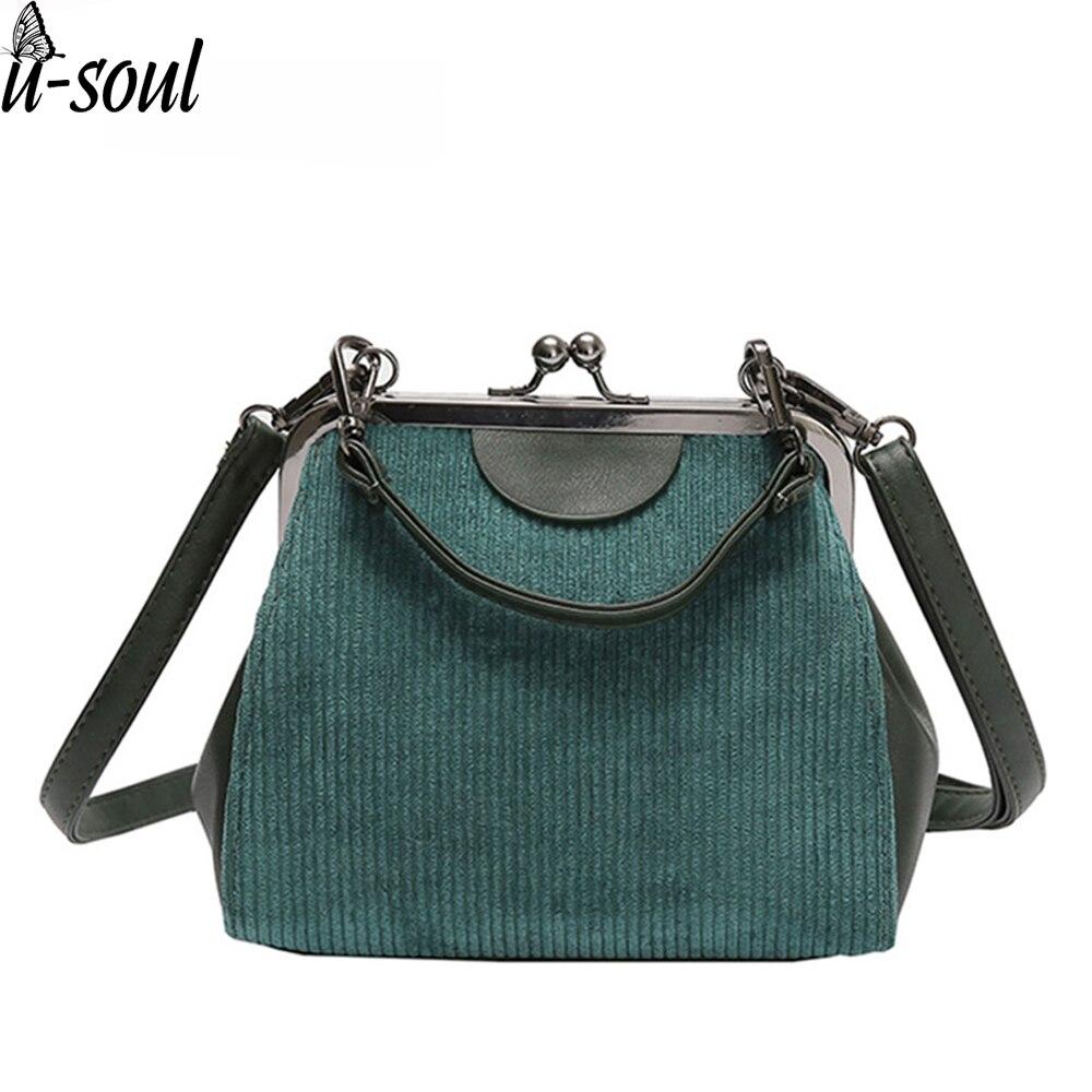USOUL Casual Striped Corduroy Women Messenger Bags Lock Shell High Quality Handbag Small Clutch Handbags for women 2020
