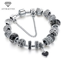 ATTRACTTO Schwarz Charme liebe Armbänder & Armreifen Perle s Armbänder Für Frauen Mode Schmuck Original Pulsera Armband SBR160293