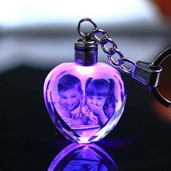 Цветной Кристальный брелок для ключей, светодиодный светильник для фото, модный светящийся брелок в форме сердца, стеклянная картина, подарки сувениры для ребёнка