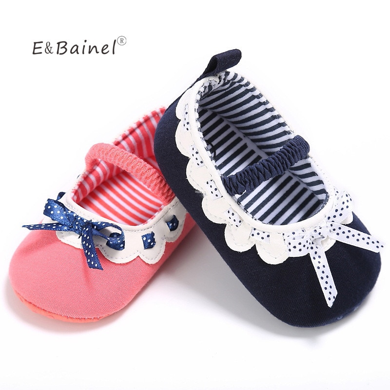 Toddler Infant Butterfly-Knot Pink First Walkers Shoes Soft Sole Baby Girl Shoes Anti-slip Cotton Ne