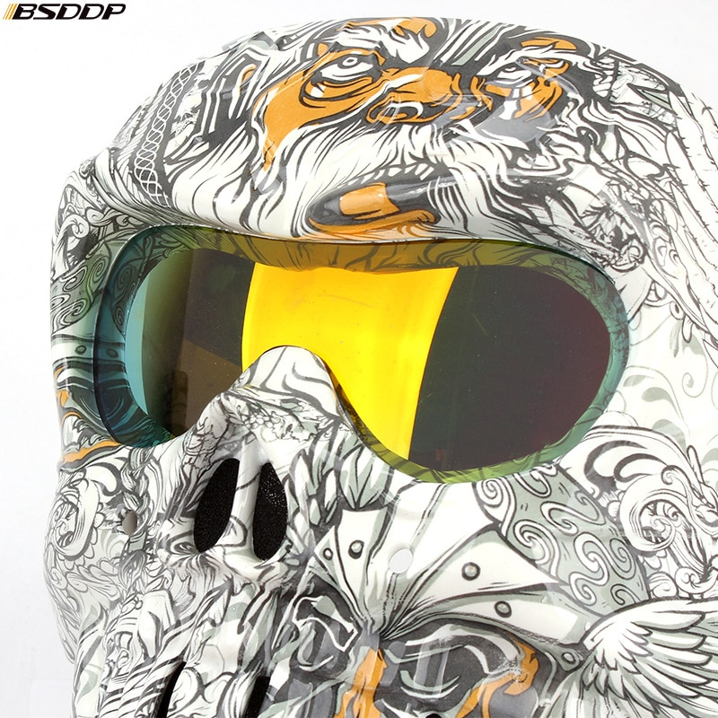 Vintage Motorcycle Glasses Helmet Mask Detachable Modular Skull Mask Motorcycle Goggles Mouth Filter Moto Motocross Glasses enlarge