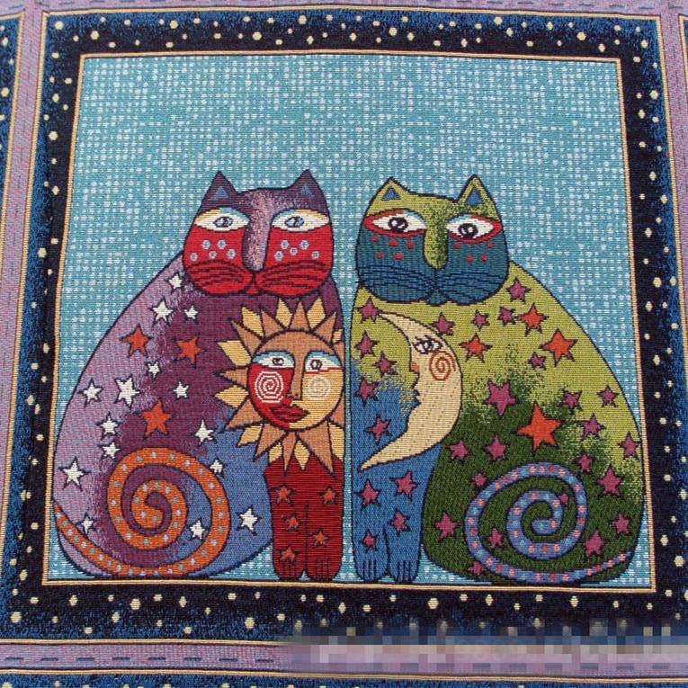 50x50cm Lino Jacquard tejido indio el sol el gato DIY cojín almohada bolsa G11