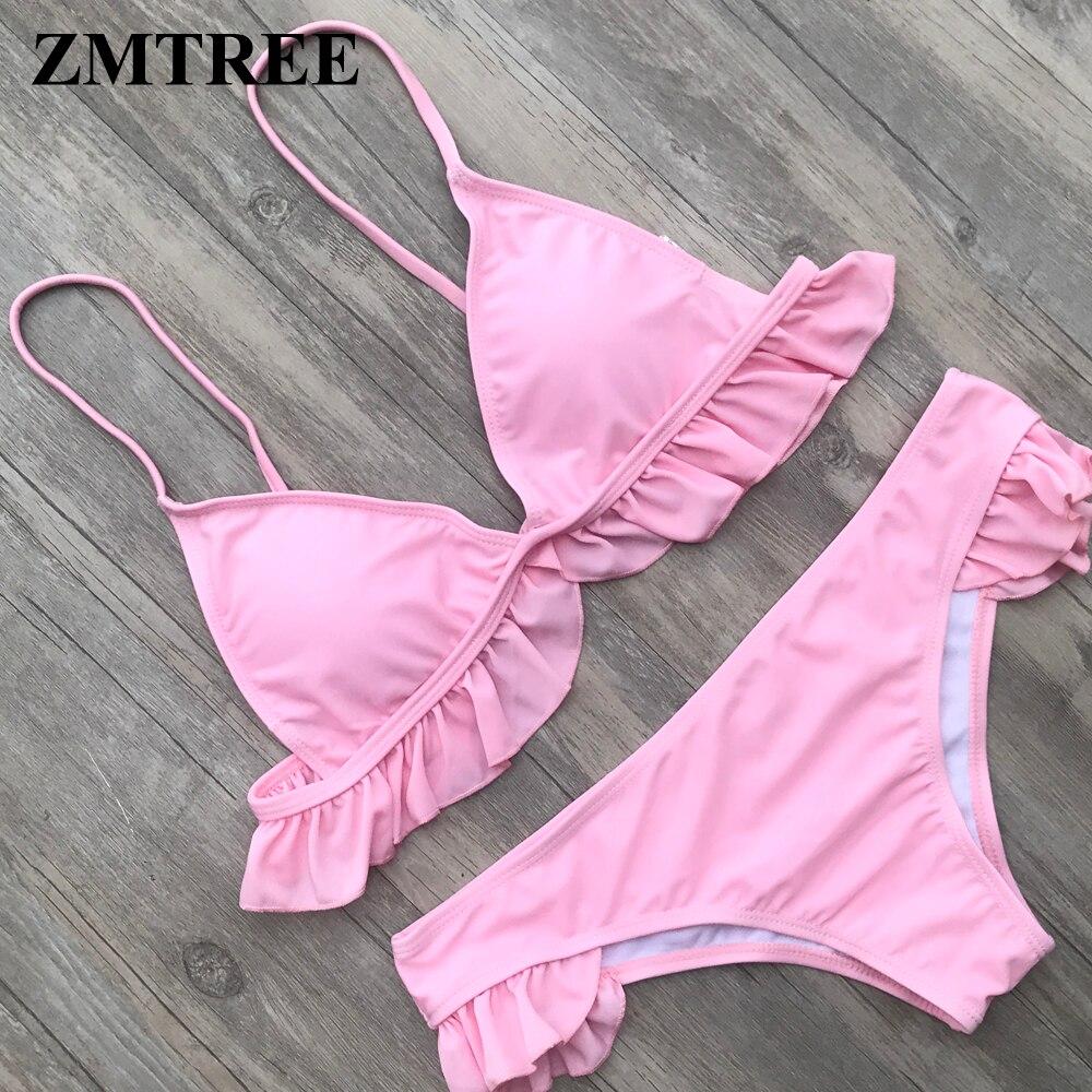 Conjunto de Bikini con volantes ZMTREE traje de baño triangular traje de baño azul trajes de baño 2018 ropa de playa verano vendaje Sexy Biquini