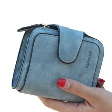 Bayan çıtçıt fermuar kısa debriyaj cüzdan katı mektup moda küçük kadın çanta kısa çanta Vintage mat kadın cüzdan